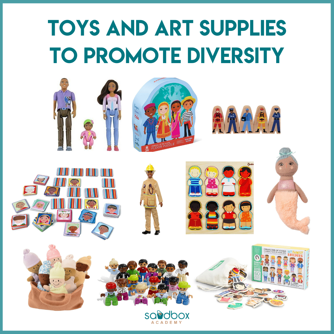 collage of diverse toys and art supplies